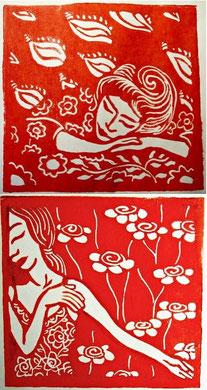 L'OMBRE DE MES REVES - extrait, linogravure, 14x14cm l'une, 2013