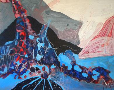 SANS TITRE, acrylique, linogravure et techniques mixtes sur toile, 146 x 114 cm, 2012