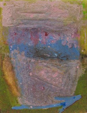 FLECHE BLEUE, acrylique et techniques mixtes sur toile, 18 x 14 cm, 2013
