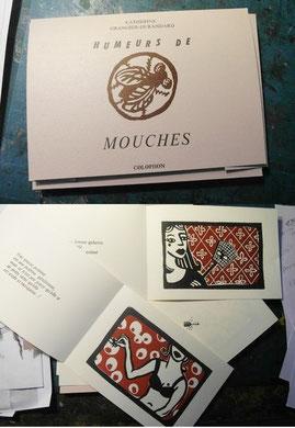 HUMEURS DE MOUCHES, livre imprimé aux éditions Colophon, 13 feuillets, 14x20 cm, 250 exemplaires, 2012. Variation sur le nom des mouches que les femmes mettaient au XVIIIe s.