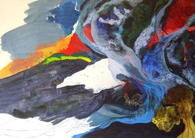 SANS TITRE, acrylique, linogravure et techniques mixtes, 162 x 114 cm, 2012