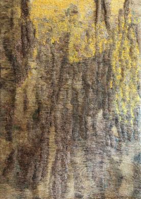LA PLUIE JAUNE, encre, fil, billets de banque, 117x150 cm, 2012