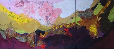 TRIPTYQUE, acrylique, collages et techniques mixtes sur toile, 219 x 92 cm, 2010