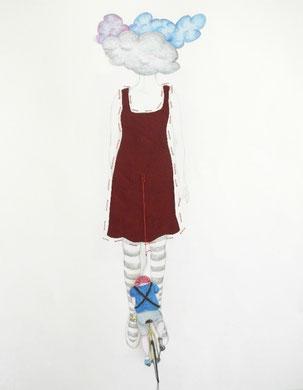 TETE DANS LES NUAGES ET QUEUE DE PELOTON, dessin, couture, collage, 50x65 cm, 2013