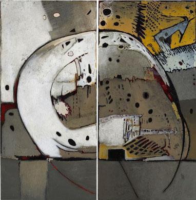 URBANITE, acrylique et techniques mixtes sur toile, 123 x 100 cm, 2012