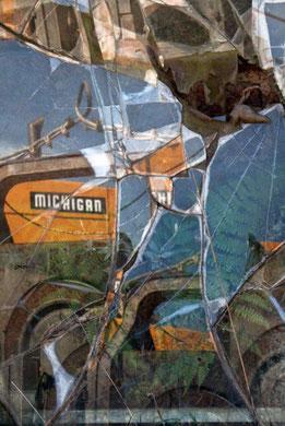 MICHIGAN, photographie contrecollée sur alu dibond, papier aquarelle, 40x60 cm