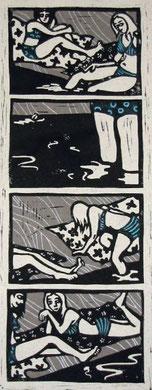 LES BAIGNEUSES - hommage à Vallotton, extrait, linogravure, 53x33cm, 2006