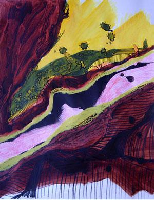 CHEMIN DE TRAVERSE, acrylique et techniques mixtes sur papier, 65 x 50 cm, 2010