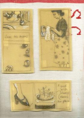 SOUVENIRS DE CUISINE - extrait: planche 13 sur 13, crayon graphite sur lasagne contre-collées sur des torchons brodés,  24x30 cm, 2011
