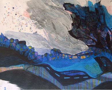 SANS TITRE, acrylique et techniques mixtes sur papier, 80 x 100 cm, 2011