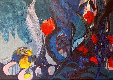 SANS TITRE, acrylique, linogravure et techniques mixtes sur toile, 162 x 114 cm, 2012