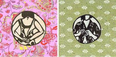 HABILLAGE 1 et 2, linogravure sur papier imprimé, 15x15 cm l'une, 2008