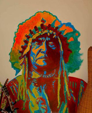 votre portrait street art chef indien