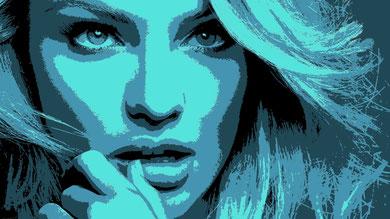 galmour beauté femme visage portrait tableau street art slave 2.0