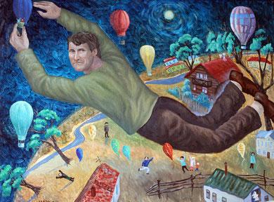 """""""ПОЛЕТ МЕЧТЫ"""" (портрет друга Саши Иванова) к/м 2014 г."""