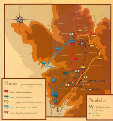 Mapa de Rutas en el Monte El Viejo para andar.
