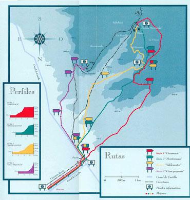Mapa de Rutas en el Monte El Viejo para subir.