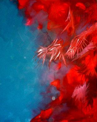 """""""Rot greift an""""  200x160cm Mischtechnik  auf Leinwand), 1983"""