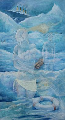 Begegnung im Meer,2017, Acryl auf leinwand