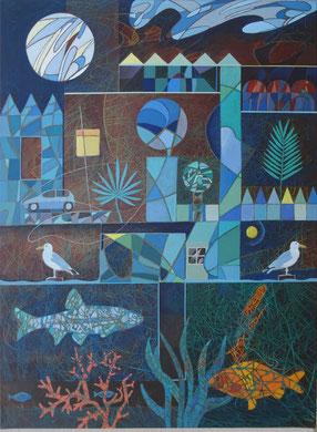Hommage an Paul Klee, 2019, 80x60cm,Acryl auf Leinwand