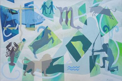 Stringtheorie, 2016, Acryl auf Leinwand