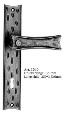 Art.1040 Schmiedeeisen Langschildgarnitur