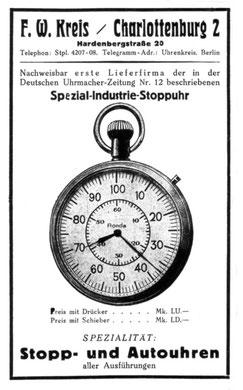 UZ Werbung 1922 für Industrie-Stoppuhr zur Arbeitszeitmessung