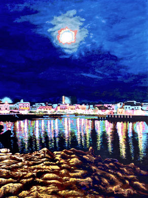 Night on the sea with lights and moon  Acrylic on canvas 60x80   2018 (Private collection)