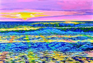 The sun in the waves Acrylics on canvas 70x100 cm   2016