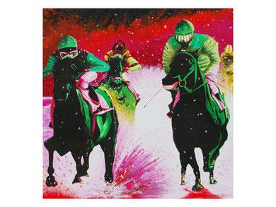 Horses run in the snow  Acrylic 90x90 cm 2009