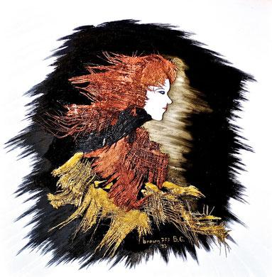 La ragazza del vento - Acrilico e palma su tela 80x80 - 2013