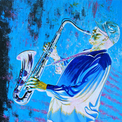 White ... in the black music ! (Private collection) Acrylic on canvas 80x80 cm   2012