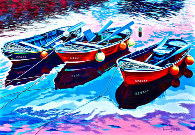 I wish a good ... fishing !  Acrylic on canvas 100x70 cm 2018