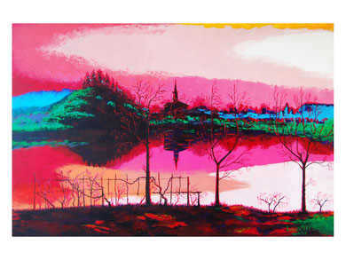 Colors on the lake  Acrylic on canvas 120x80 cm 2008