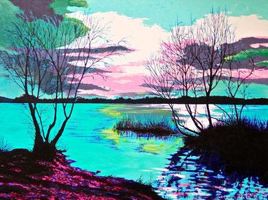 Lake against the light  Acrylic on canvas 80x60 cm   2013