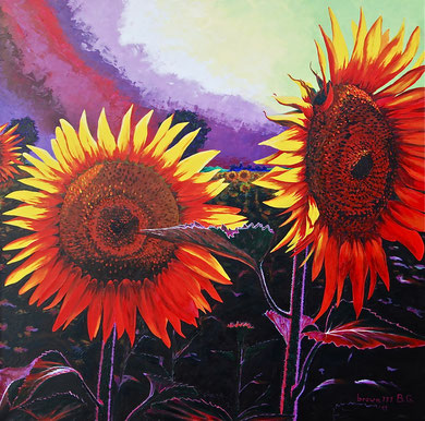 Sunflowers - ( private collection)  Acrylic on canvas  80x80 cm   2011 (Private collection )