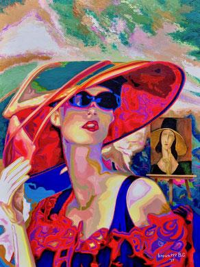 Lady brown777 e lady Jeanne ( Omaggio a Modigliani)    60x80  2019