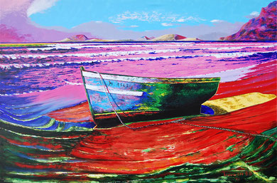 Boat on the beach   Acrylic on canvas  120x80 cm  2012 ( Pinacoteca di Ravarino-MO)