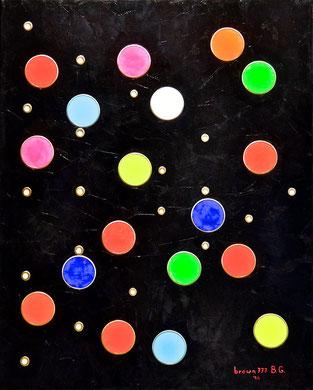 Nero, bianco ed i colori - Acrilico ed acciaio su tela 80 x100- 2014