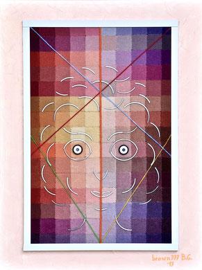 Volto su toni di rosso/viola - Materico su tela 60x80 2017