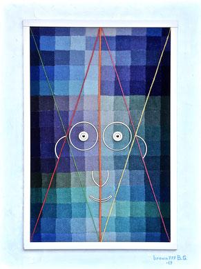 Volto su toni di blu - Materico su tela 60x80 2017
