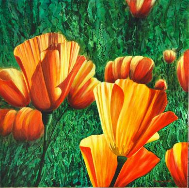 Flowers n.2  Acrylic on canvas 90x90 cm 2010