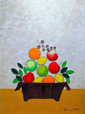 Cesto con frutta- Acrilico, acciaio e palma su tela 60x80 - 2014