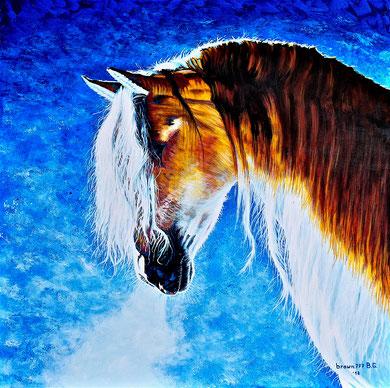 White mane  Acrylic on canvas 80x80 cm  2018