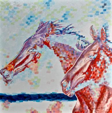 Horses  Acrylic on canvas 80x80 cm  2017