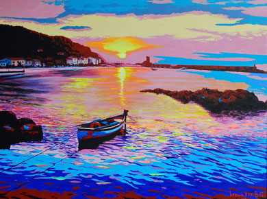 Sunset on the seaport - ( private collection)  Acrylic on canvas  80x60 cm  2012