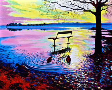 Flodding of lake _ Acrylics on canvas 80x100 cm   2017
