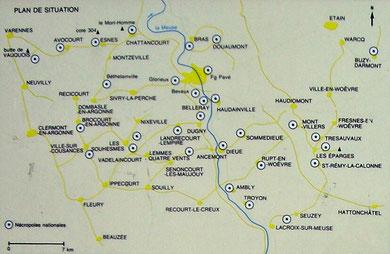 Übersichtkarte französischer Soldatenfriedhöfe in der Region