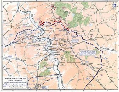 Karte vom Beginn der Schlacht am 21.02.1916