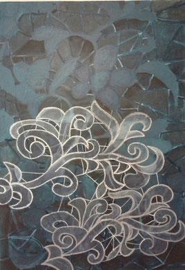 HANDWERK, acrylverf en acrylstift- i m. bij 70 cm.